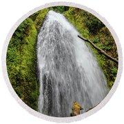 Wahkeena Falls At Footbridge, Oregon Round Beach Towel