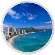 Waikiki And Diamond Head Round Beach Towel