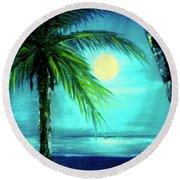 Waikiki Beach Moon #22 Round Beach Towel