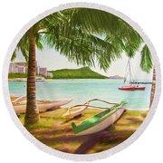 Waikiki Beach Outrigger Canoes 344 Round Beach Towel