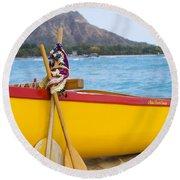 Waikiki Canoe Paddles Round Beach Towel