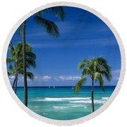 Waikiki Seascape Round Beach Towel