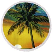 Waikiki Sunset #38 Round Beach Towel
