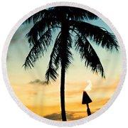 Waikiki Sunset Round Beach Towel