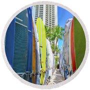 Waikiki Surfboards Round Beach Towel