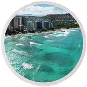 Waikiki To Diamond Head Round Beach Towel