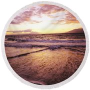 Wailea Beach At Sunset Round Beach Towel