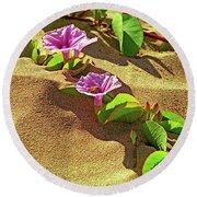 Wailea Beach Morning Glory With Honeybee Round Beach Towel