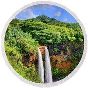 Wailua Falls Kauai Round Beach Towel