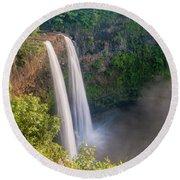 Wailua Falls - Kauai Hawaii Round Beach Towel