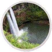 Wailua Falls, Kauai Round Beach Towel