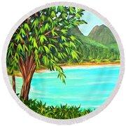 Waimanalo Beach Oahu #385 Round Beach Towel