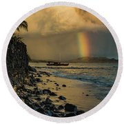 Waimanalo Rainbow Round Beach Towel