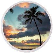 Waimea Beach Sunset 3 - Oahu Hawaii Round Beach Towel