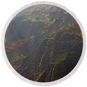 Waimea Canyon On A Misty Day In Kauai Round Beach Towel