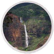 Waimea Canyon Waterfall Round Beach Towel