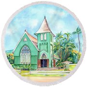 Wai'oli Hui'ia Church Round Beach Towel