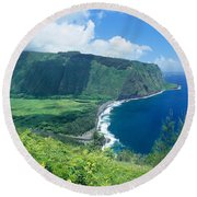 Waipio Valley Lookou Round Beach Towel