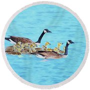 Wait For Me Round Beach Towel