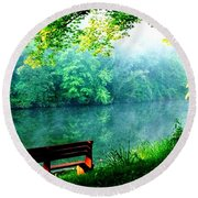 Waiting Bench Round Beach Towel