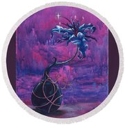 Waiting Flower Round Beach Towel
