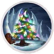 Waiting For Christmas Round Beach Towel