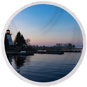 Waiting For Sunrise - Blue Hour At The Lighthouse Infused With Soft Pink Round Beach Towel