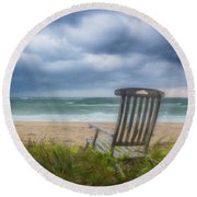 Waiting For Sunrise On The Dunes Round Beach Towel