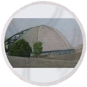 Waiting For The Next Event Mellon Arena Pittsburgh Round Beach Towel