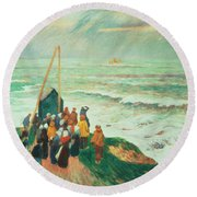 Waiting For The Return Of The Fishermen In Brittany Round Beach Towel by Henry Moret