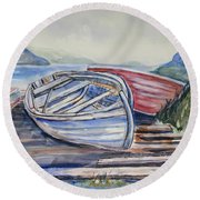 Waiting In The Cove Round Beach Towel
