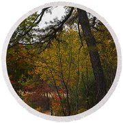 Walden Pond Path Into The Forest 2 Round Beach Towel