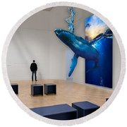 Whale Watching  Round Beach Towel