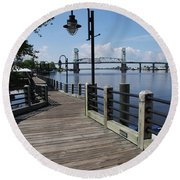 Walk Along The Fear River - Wilmington Round Beach Towel