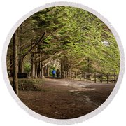 Walk Among The Trees Round Beach Towel