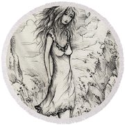 Walk In The Whispers Round Beach Towel