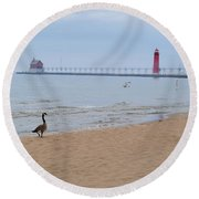 Walk On Lake Michigan Round Beach Towel