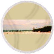 Walk The Beach Round Beach Towel