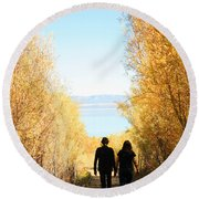 Walk To Mono Lake Round Beach Towel
