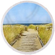 Walk To The Beach Round Beach Towel