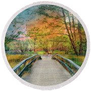 Walk To The Lake In Watercolors Round Beach Towel