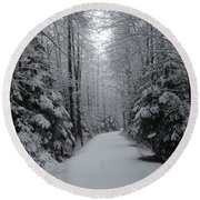 Walk With Frost Round Beach Towel