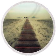 Walk With Me Round Beach Towel