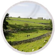 Walkers At Lathkill Dale Round Beach Towel
