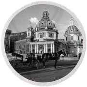 Walking Around The City Of Rome  Round Beach Towel