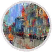 Walking Down Street In Color Splash Round Beach Towel