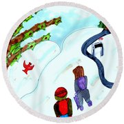 Walking Home From School Round Beach Towel