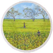 Walking In The Mustard Field Round Beach Towel