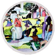 Walking In The Park Round Beach Towel by Mindy Newman