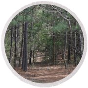 Walking In The Pine Forest Round Beach Towel